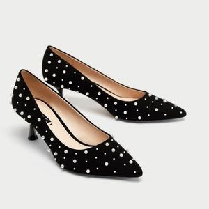 Zara Medium Heel Court Shoes with Faux Pearls